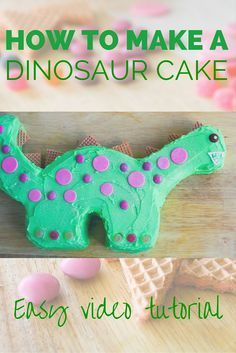I made this cake for a dinosaur party earlier in the year and it was a hit. Very easy to make and the kids loved it. Video tutorial shows you how. # dinosaur cake How to make a dinosaur cake. Dinosaur Cake Easy, Dinosaur Cake Tutorial, Dinosaur Cakes For Boys, Make A Dinosaur, Dino Cake, Dinosaur Birthday Cakes, Dinosaur Party, Dinosaur Cupcake Cake, 3rd Birthday