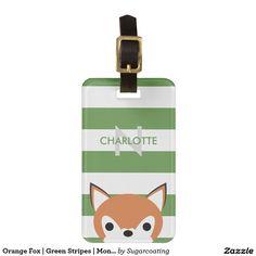 Orange Fox   Green Stripes   Monogram Bag Tag