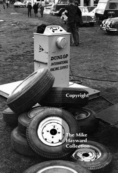 A pile of tyres in the paddock, Oulton Park Gold Cup meeting, 1964. #f2 #formula2