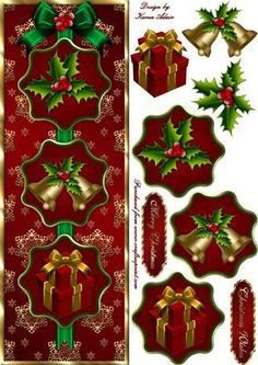 Merry Christmas Tall DL Card Front with Step by Step on Craftsuprint designed by Karen Adair - This is a large tall DL card front, featuring three toppers with christmas bells, holly and gifts. Extra toppers and decoupage are included to add depth and dimension to your finished card. Two sentiment tags also included. If you like this check out my other designs, just click on my name. - Now available for download!
