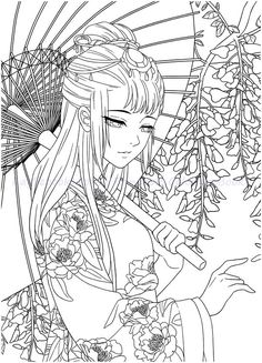 Instant Download! High quality images fit on A4 paper Over 200 printable coloring books available #coloringbook #coloring #portrait #mystica #chinesecoloring #download #ebook #coloringpage Adult Coloring Pages, Coloring Pages For Grown Ups, Cute Coloring Pages, Coloring Books, Pencil Sketches Of Girls, Gothic Anime Girl, Pencil Portrait Drawing, Geisha Art, Anime Poses Reference