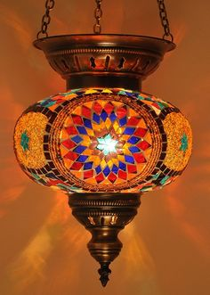 Hanging Stained Glass Mosaic Turkish Ottoman Moroccan Lantern Lamp Chandelier Mediterranean Light Fixture via Etsy