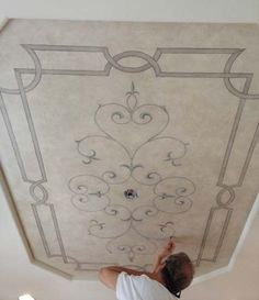 Hand painted ceiling with soft faux finished background