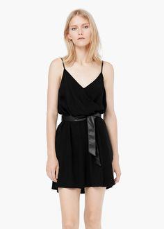 Wrap neckline dress -  Women | MANGO