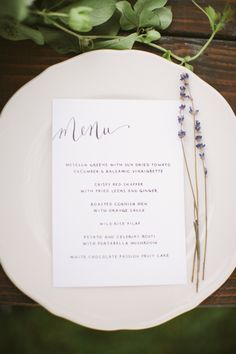Menu on plate with herb stem. Photography: CMOStr Photography - cmostr.com Floral Design: Blade Floral and Event Designs - bladenyc.com  Read More: http://www.stylemepretty.com/2012/08/10/spring-inspired-photo-shoot-diy-greenery-garland-by-cmostr-photography/