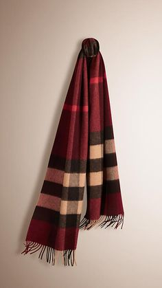 Claret check The Classic Cashmere Scarf in Giant Exploded Check - Image 1