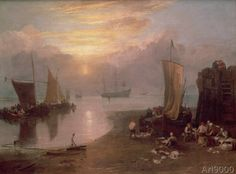 Joseph Mallord William Turner - Sun Rising Through Vapour: Fishermen Cleaning and Selling Fish, c.1807