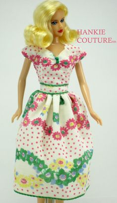 """Colorful Pastels, dress created from a vintage hankie to fit 11 1/2"""" Barbie, the…"""