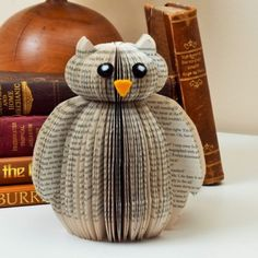 Book Owl Made from an unloved book, available from http://www.creatoncraftsandgifts.co.uk/shop/book-art/book-art-owl/