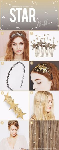wedding hair jewelry Star hair accessories perfect for a celestial wedding Headband Hairstyles, Down Hairstyles, Pretty Hairstyles, Latest Hairstyles, Vintage Makeup, Holiday Hairstyles, Wedding Hairstyles, Summer Hairstyles, Luxy Hair