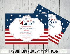 4th of July, Independence Day, BBQ/Celebration/Party Invitations Editable PDF Templates - 5 x 7 Red White Blue Party from GraphicArtDesign on Etsy.