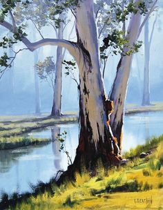 riverside gums by artsaus on DeviantArt #trees #art #painting