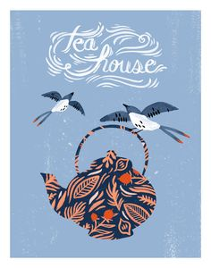 This illustration features a sweetly-patterned teapot with two peaceful, flying swallows and flourishing hand-drawn type. This mixed media piece was created using watercolour, graphite, and digital el
