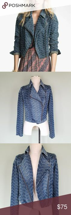 """Free People Denim Moto Jacket Punched Chevron Free People. Women's 2. Denim Motorcycle Jacket. Chevy Blue - Punched Raised Embroidered Chevron / Herringbone pattern. Perforations punch out a pointelle pattern over a denim biker jacket cut with a feminine fit and finished with edgy moto-inspired details. Asymmetrical zip front closure. Front zip pockets. Long sleeves with zippers on the cuffs.  100% Cotton. Excellent condition!  Bust- 18"""" Length- 19"""" Free People Jackets & Coats Jean Jackets"""