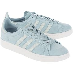 ADIDAS ORIGINALS Campus W Tactile Green // Flat suede sneakers (€69) ❤ liked on Polyvore featuring shoes, sneakers, flat sneakers, adidas originals shoes, striped sneakers, adidas originals trainers and retro shoes