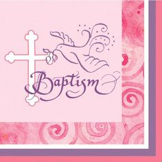 Creative Converting Faithful Dove Cross Beverage Baptism Napkins Pink 16 Count ** You can find out more details at the link of the image.
