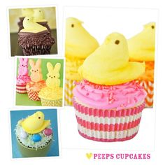 Seriously the easiest Easter cupcakes ever, just top with Peeps!