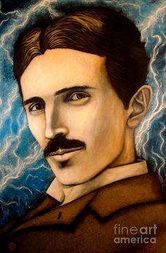Nikola Tesla (painting) by Justin Coffman Tesla Nikolai, Nikola Tesla Patents, Tesla Inventions, Nicolas Tesla, Einstein, Two Wolves, Celebrity Portraits, Woman Painting, Cool Art
