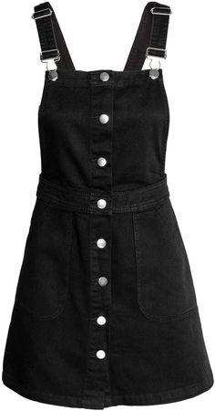 H&M - Denim Bib Overall Dress - Black - Ladies