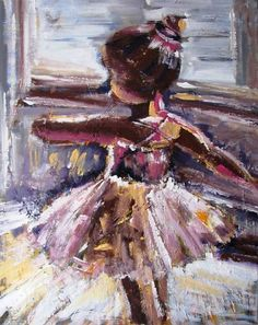 This piece is a part of my ballet collection (I did both ballet and gymnastics, and believe it or not can still do a spit!). It continues on the sides so framing is optional, and has beautiful texture!