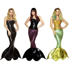 Sexy Sea Siren Adult Womens Dark Gothic Mermaid Black Halloween Costume | eBay