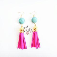 Fuchsia tassel boho turquoise gemstone earrings✨ #twiniñas #twininas #jewelry #gold #brass #turquoise #gems #gemstones #handmade #dangle #earrings #fuchsia #tassel #suede #etsy #shop #mousastreet #coachella #gipsy #boho #bohemian #style #inspiration #girls #summer #lovers #instalike #instadaily #greece #loveit Gemstone Earrings, Dangle Earrings, Bohemian Style, Boho, Turquoise Gemstone, Gem S, Handmade Jewellery, Ss 15, Coachella