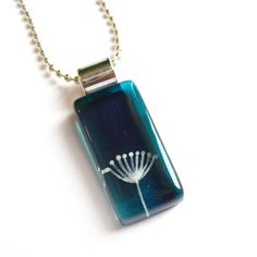 Dandelion teal pendant  Hand painted glass by azurine on Etsy, $25.00