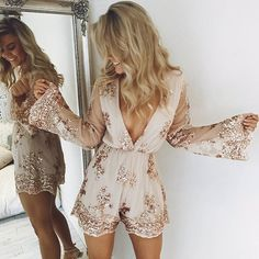 Love this playsuit!! Our 'Like You Know Me playsuit in rose gold sequin' Shop now via the link in our bio #showpo
