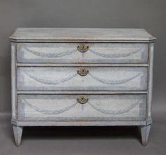 Late Gustavian Chest of Drawers with Painted Detail | From a unique collection of antique and modern commodes and chests of drawers at http://www.1stdibs.com/furniture/storage-case-pieces/commodes-chests-of-drawers/