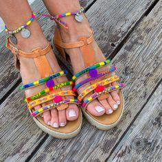 Colorful Sandals Pom Pom Sandals Fiji Boho Sandals Gypsy Sandals Greek Leather Sandals Gold Sandals RiRiPoM Gladiator Sandals