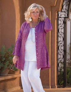 Grizas purple silk/linen button jacket