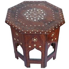 Anglo Indian Octagonal Tabouret Side Table with Bone Inlay | From a unique collection of antique and modern end tables at http://www.1stdibs.com/furniture/tables/end-tables/