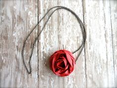 Bridesmaid Fabric Flower Necklace in Hollywoodon by amblebee