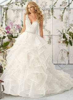 Wedding Dresses - $267.35 - Ball-Gown V-neck Court Train Organza Wedding Dress With Lace Beading Cascading Ruffles (0025088775)