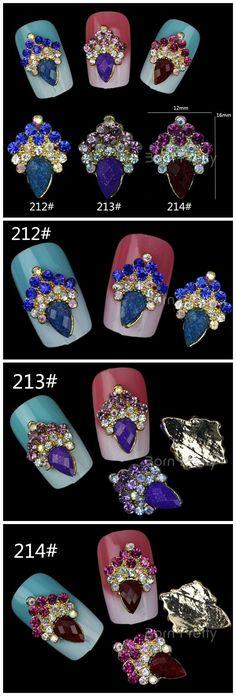 $3.14 2Pcs Fantastic Colored Rhinestone Crown Patterned Charming 3D Nail Art Decoration - BornPrettyStore.com