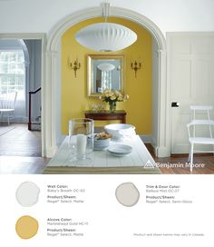 Dining with a bold pop of color. Wall: Baby's Breath OC-62 with Regal Select, Matte finish; Alcove: Marblehead Gold HC-11 with Regal Select, Matte finish; Trim & Door: Balboa Mist OC-27 with Regal Select, Semi-Gloss finish