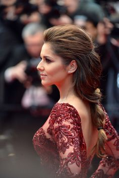 Cheryl Cole in a loose braid and beaded gown at the Festival de Cannes 2013.