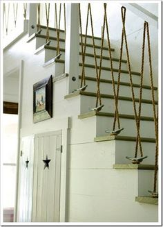 I love this staircase using cleats and rope as ballisters.