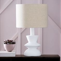 Totem Table Lamp- Base, Shade Medium-White/Antique Brass Natural Linen at West Elm - Table Lamps - Light Fixtures - Home Lighting Bedside Table Lamps, Ceramic Table Lamps, Bedroom Lamps, Master Bedroom, Diy Lamps, Lamp Table, Wall Lamps, West Elm, Best Desk Lamp
