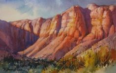Afternoon Sun Painting of Red cliffs