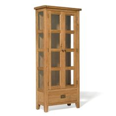 Narrow oak display cabinet