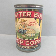 Vintage Butter Boy Sur-Nut POP CORN Advertising Tin Can Container Paper Label