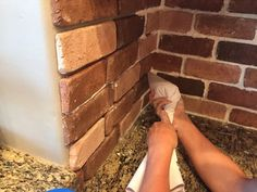 Kitchen Decor A do it yourself tutorial on how to install a brick veneer backsplash.for the kitchen and dining wall that leads to the sunroom. - A do it yourself tutorial on how to install a brick veneer backsplash Kitchen Redo, Kitchen Backsplash, Faux Brick Backsplash, Backsplash Ideas, Backsplash Panels, Beadboard Backsplash, Herringbone Backsplash, Kitchen Cabinets, Home Renovation
