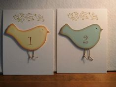 Bird table number cards