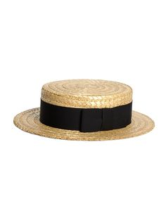 79fa25a38fb Straw Boater Hat with Black Ribbon Natural. Traditional boater made since