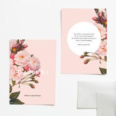 Rosé Slushy - Dankeskarte: Die Dankeskarte im Format A6 ist beidseitig bedruckt und hat einen transparenten Umschlag. Sie bietet Platz für eure individuellen Dankesworte.