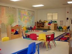 This preschool classroom is a great example of a more traditional 'looking' classroom. Tables and chairs in colorful choices bring the room together. The preschool carpet is used as a learning tool as well as seating. We can create any classroom layout design to fit your facility needs. we can work with your classroom layout ideas as well! :)