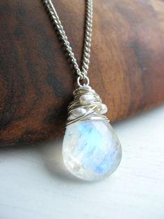 Necklace, Bridal Wedding, Moonstone Pendant. $120.00, via Etsy.