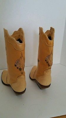 Zodiac Native American Indian Deerskin Cowboy Boots Hand Painted Size 6 M soft!
