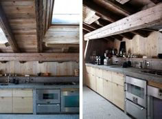 rustic wood walls and kitchen design with exposed ceiling beams